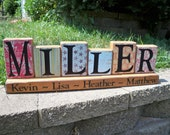 Wooden Block sign, wood block letters, Name Blocks, 6 letter Family Name Block Set, last name sign, alphabet blocks