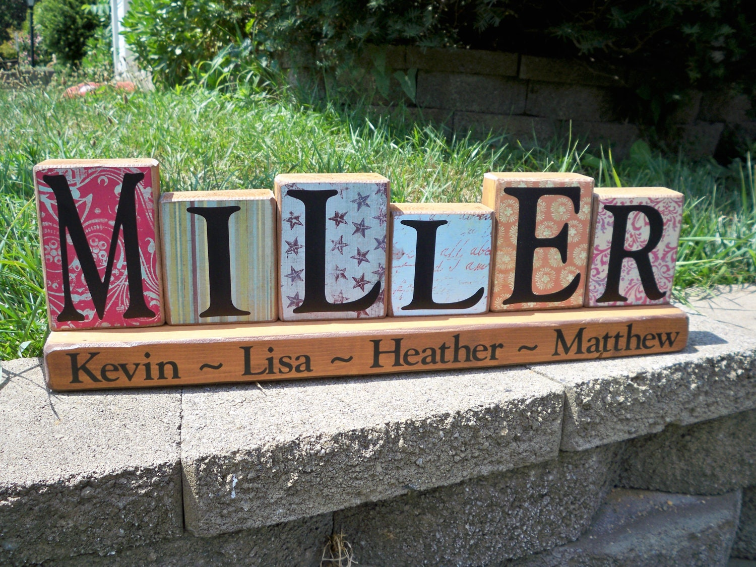 Wood Block Letters ~ Wooden block sign wood letters name blocks