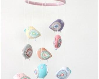 mobile pastel felt 8 birds