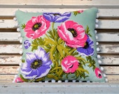 POPPIES : Vintage Irish  Linen Tea Towel Cushion Upcycled Repurposed Spring Flowers Pillow Cushion