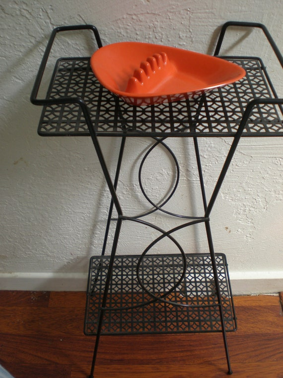 Atomic Stand 2 Tiered Black Wire Eames Era Beauty With Great Retro Embellishment