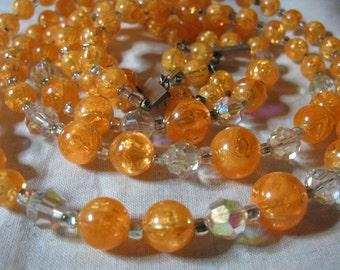 Vintage Tangerine Confetti Lucite Austrian AB Crystal Bead Triple Strand Necklace