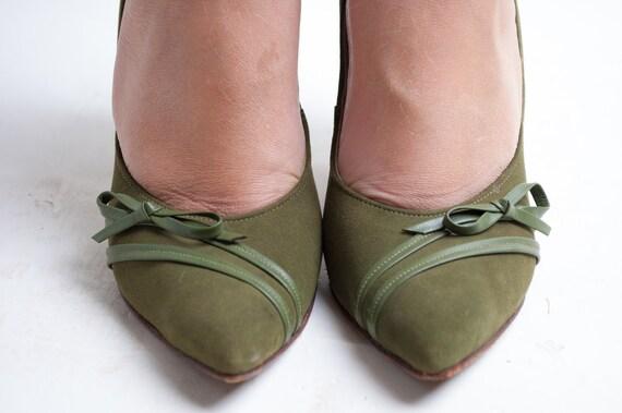 SALE - Vintage 1950s Heels - 50s Stiletto Heels - Moss Green Suede