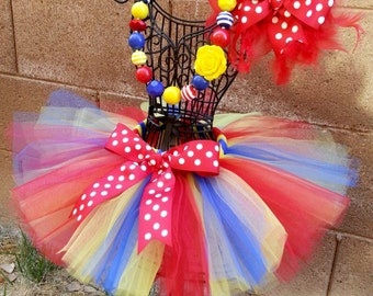 POLKA DOT CIRCUS- Red, Yellow, and Blue Polka dot tutu with hairbow:  Newborn-5T