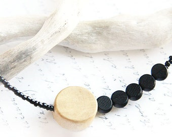 Asymmetrical Necklace Thin Necklace Minimal Necklace Fashion Jewelry Geometric Necklace Black Necklace Wooden Bead Sterling Silver gift