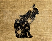 INSTANT DOWNLOAD - Christmas Cat Snowflakes - Download and Print - Iron On Image Transfer Digital Sheet by Room29 Sheet no. 672