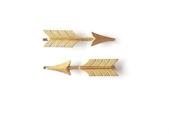 Arrow Bobby Pins Gold Bridal Hair Clips Free Spirit Festival Bohemian Boho Accessories Tribal Katniss Hunger Games Womens Gift For Her