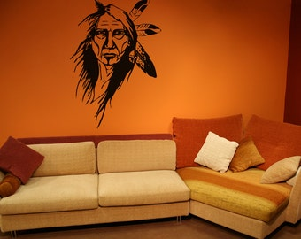 Vinyl Wall Decal Sticker Native American Elder Woman OSAA393s