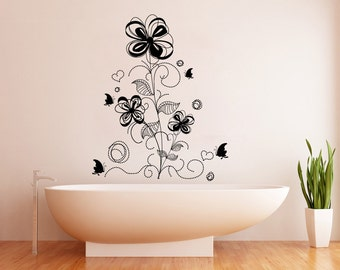 Vinyl Wall Decal Sticker Flower Butterfly Decoration 1009s