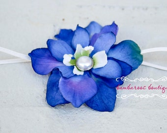 baby headband, newborn headband, small flower headband, infant headband, blue flower