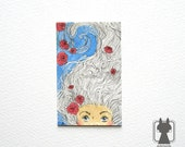 Original ACEO illustration - white hair and red roses - beautiful girl art