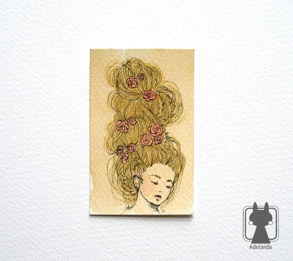 Small watercolor illustration - Marie Antoinette hairdo - The Hair and Roses collection