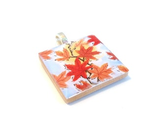 Autumn Maple Leaves Red Orange Square Wood Tile Pendant