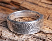 Rustic Southern Silver Thumbprint Ring Handwritten Jewelry
