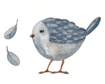 Watercolor Painting - Bird No.30 - Bird Art Print Limited Ediction - Original Painting by Lorisworld