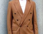 Double Breasted Camel Yves Saint Laurent Jacket Mens Large Wool