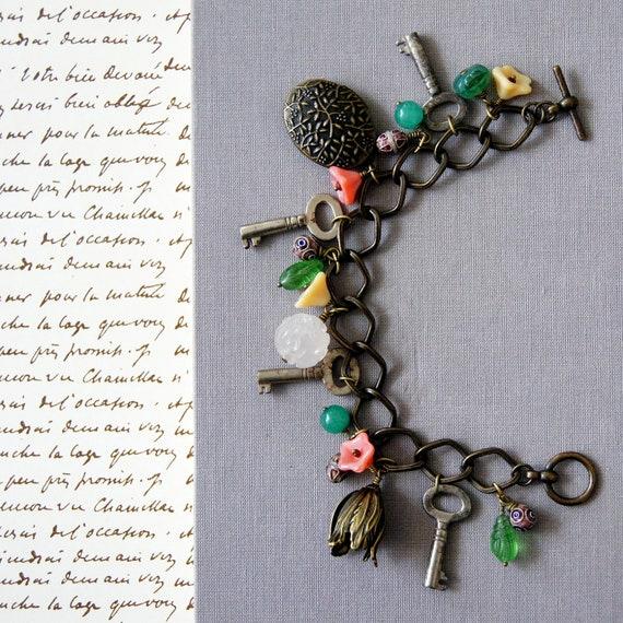 Botanical Antique Key Charm Bracelet: Le Jardin Secret, Secret Garden, keepsake pouch and gift box included