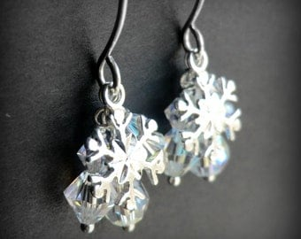 Crystal Snowflake Earrings, Sterling Silver Snowflake Charm, Aurora Borealis Swarovski Crystal Chandelier