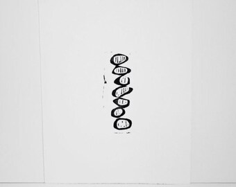 Linocut Mid Century Modern Art Poster 11x14 Balancing Circles with Lines