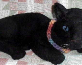Panther needle felted black jungle animal 10 inches long