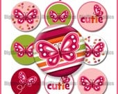"""M2MG Butterfly Girl Bottle Cap 1"""" Circles Collage Image Set Digital Graphics butterflies, flowers - No.185"""