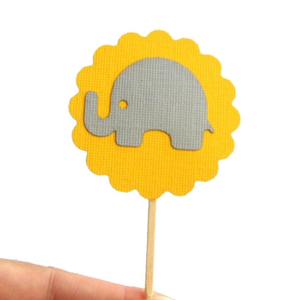 Baby Elephant Mini Cupcake Toppers, Grey and yellow party cupcake toppers  A278