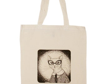 white cat in glasses eco shopping tote reausable bag
