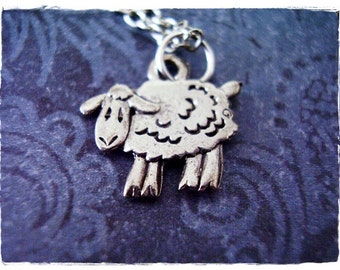 Tiny Silver Sheep Necklace - Antique Pewter Sheep Charm on a Delicate Silver Plated Cable Chain or Charm Only