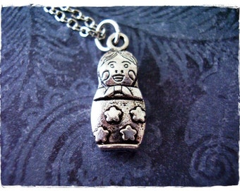 Silver Nesting Doll Necklace - Antique Pewter Nesting Doll Charm on a Delicate Silver Plated Cable Chain or Charm Only
