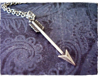 Silver Arrow Necklace - Antique Pewter Arrow Charm on a Delicate Silver Plated Cable Chain or Charm Only