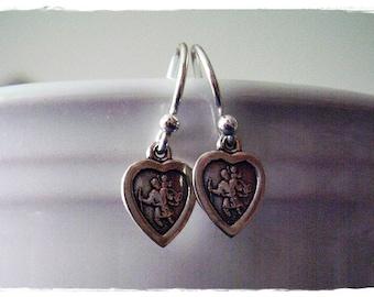 Tiny Silver Saint Christopher Dangle Earrings - Saint Christopher Protect Us Heart Charms