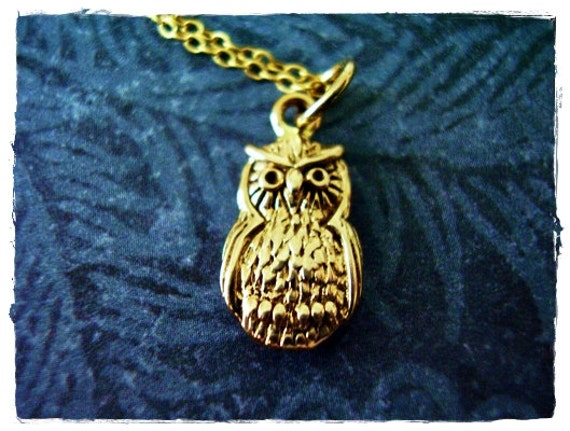 Tiny Gold Owl Necklace - Bronze Owl Charm on a Delicate 14kt Gold Filled Cable Chain or Charm Only