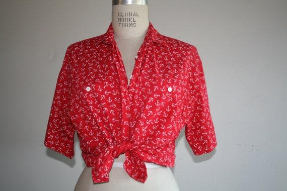 Vintage 1980s Diane Von Furstenberg Anchor Shirt Blouse