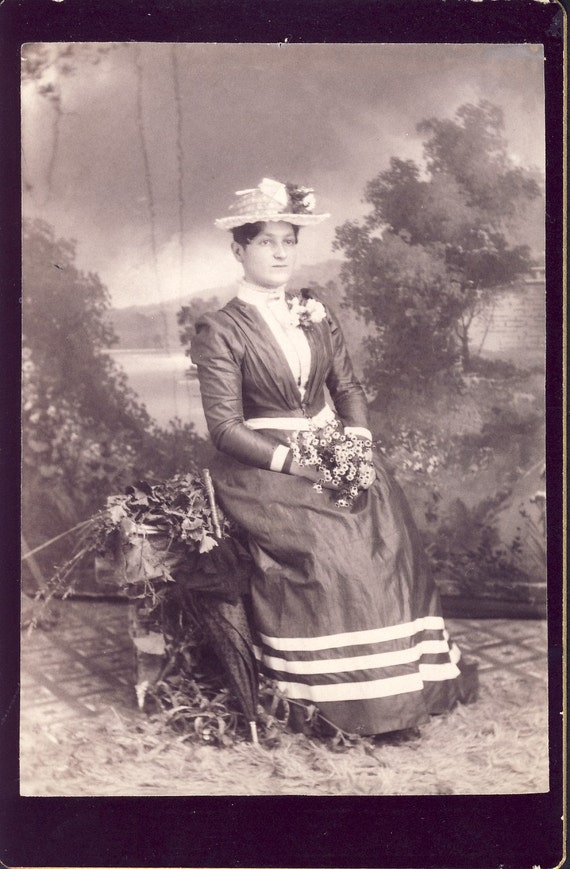 Beautiful SPRINGTIME VICTORIAN DRESS and Hat on Woman While Holding a Small Bouquet of Flowers Cabinet Photo Circa 1890