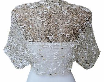 Bridal Bolero, Knit Gold  White Bolero Shrug Sleeves, Wrap Jacket, Wedding Bolero, Weddings, Bridal Cover Up, Bridal Jacket, bridesmaid