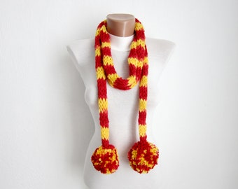 Finger Knit Scarf, Pompom Scarf, Lariat Scarves, Knitting Soft Accessories, Woman, Chunky Scarf, Knitted, Yellow Red,