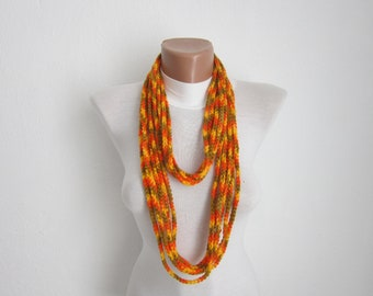 infinity Chain Scarf,Crochet Scarf,Circle,Loop Scarf,Necklace