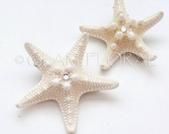 2 Natural Starfish Fascinators with Swarovski Crystals -  Knobby Starfish - natural/ cream white, ivory - Beach Destination Wedding