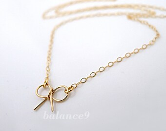Bow Necklace, gold filled small ribbon necklace, dainty charm pendant, everyday jewelry bridesmaids wedding gift, by balance9
