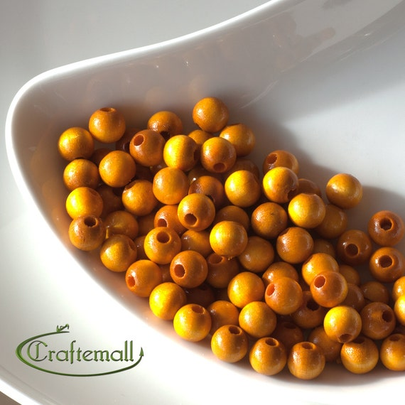 Wooden Beads - Yellow 8mm - 20 Beads