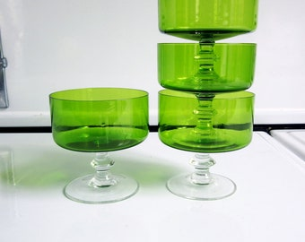 Mid Century Green Champagne Glasses / Set of 4