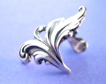 Royal Leaf ear cuff Sterling Silver earrings Sterling silver ear cuff non pierced feather ear clip earcuff right C-161
