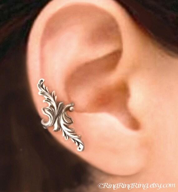 925, Double feather - solid Sterling silver ear cuff earring jewelry - non pierced earcuff