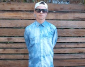 Tie Dye Screen Printed Men's Collard Shirt