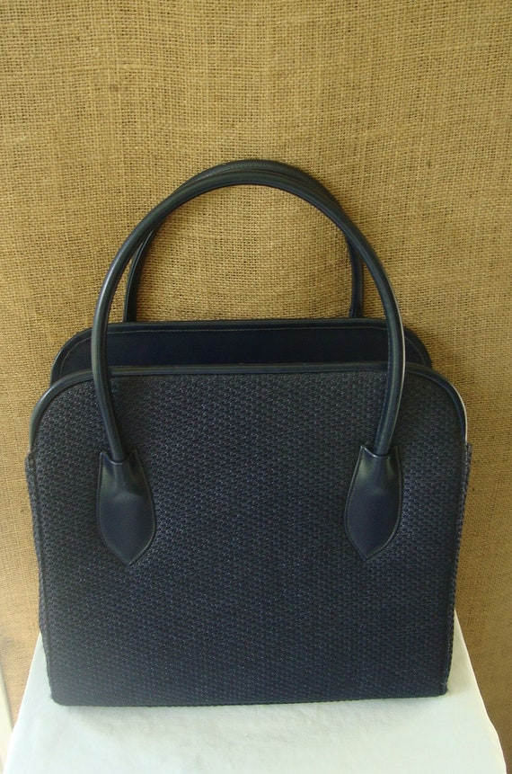 VINTAGE 1960s Navy Woven Handbag Large Purse by Morris Moskowitz