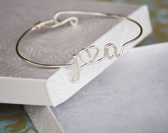 Custom Lovers Initials Bangle with Heart - Sterling Silver, Yellow Gold Filled and Copper Available