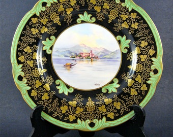 Vintage Italian Wedgwood Hand Painted Cabinet Plate Isola Giulio Lago Di Orta Signed by Artist