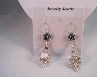 Pink Lampwork, Swarovski Crystal, Bali Sterling Silver Earrings  ES628