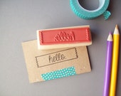 Hello Rubber Stamp - Washi Tape Border - Make Notes, Tags, Cards