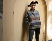 RESERVED - Grey Blue Striped Wool Sweater